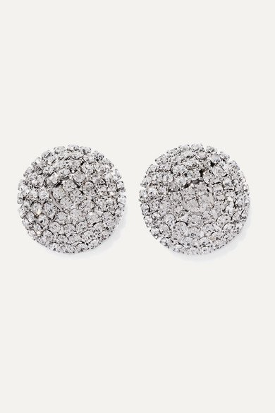 Alessandra Rich | Oversized silver-tone crystal earrings | NET-A-PORTER.COM