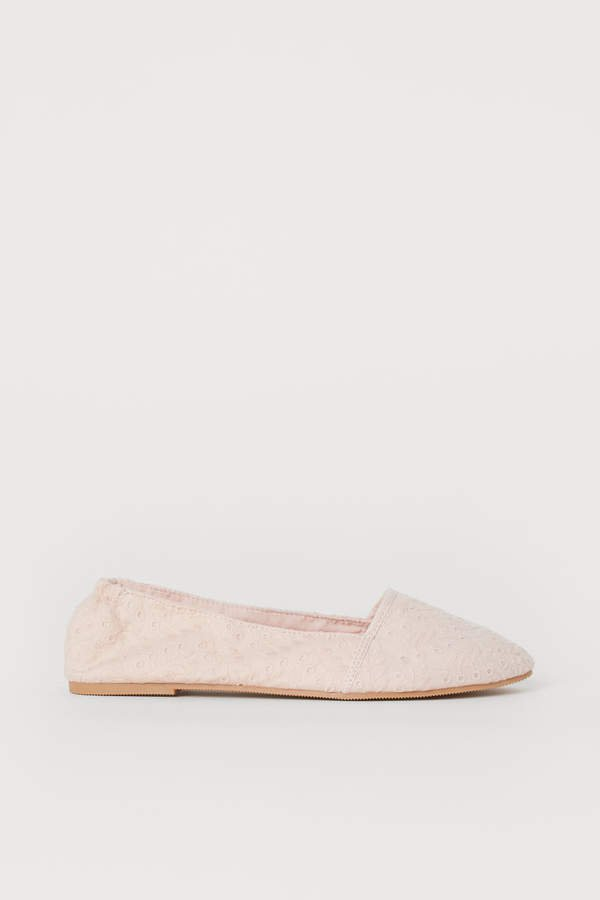Ballet Flats with Embroidery - Pink