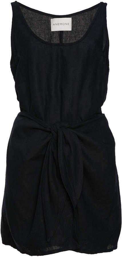 Sleeveless Linen Blend Wrap Dress