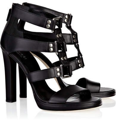 Studded Leather Sandals - Black