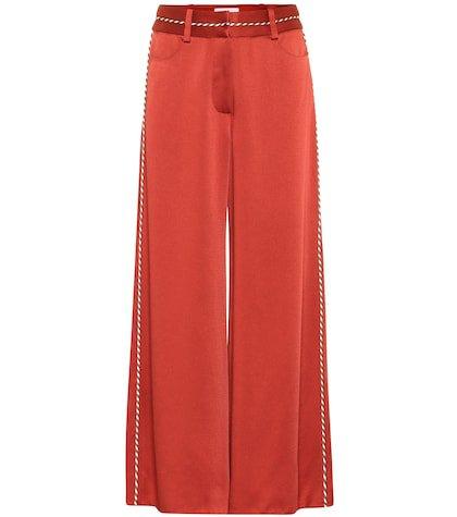 High-rise satin pants
