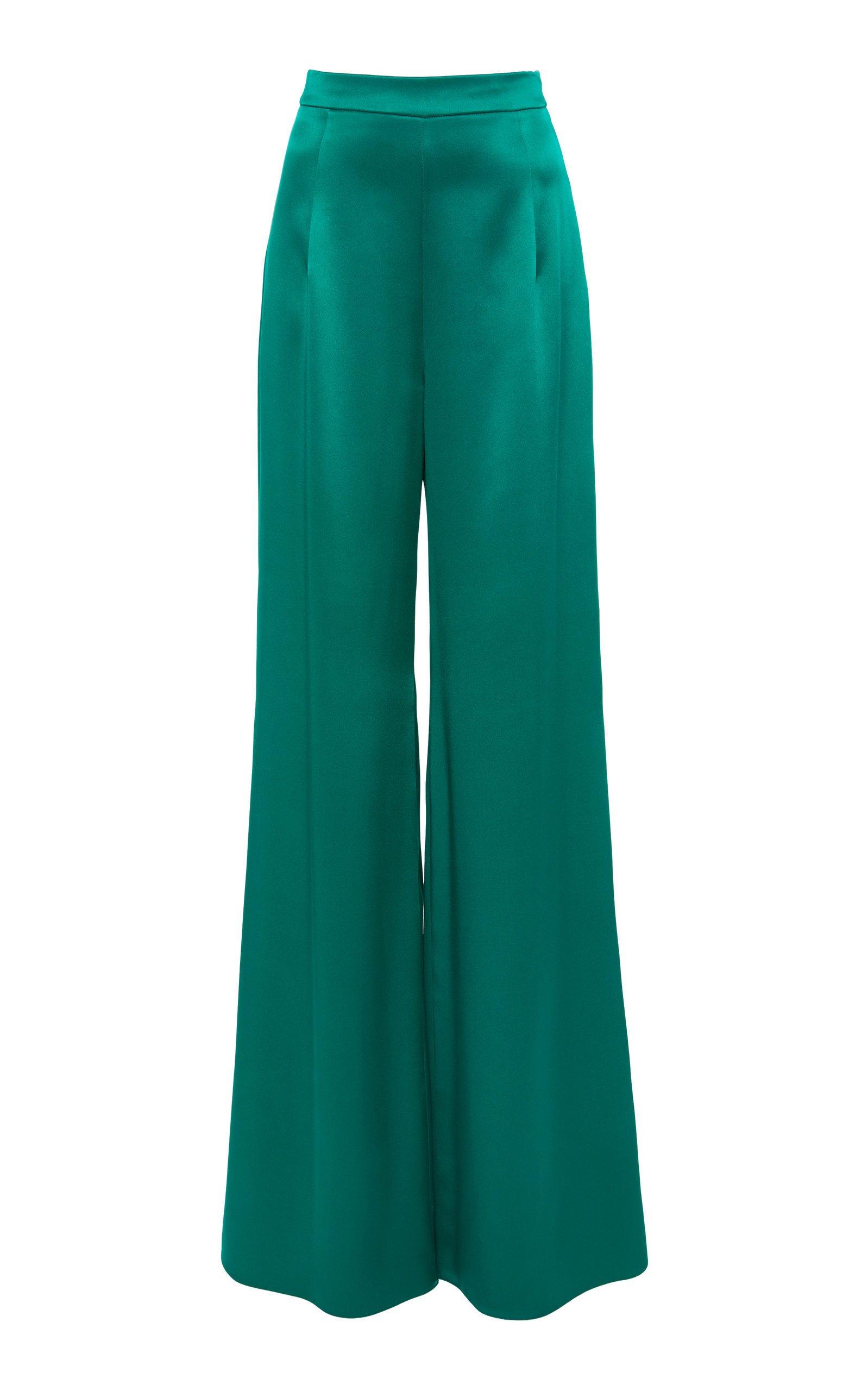 Cushnie High-Rise Wide-Leg Silk Trousers