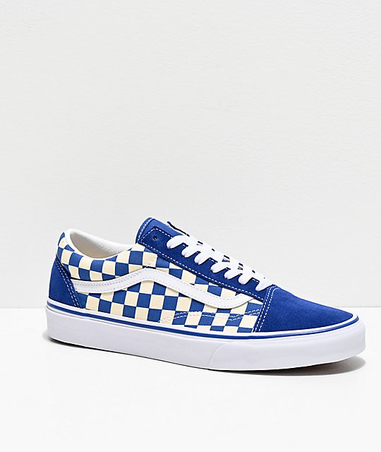 Vans Old Skool Blue & White Checkered Skate Shoes   Zumiez