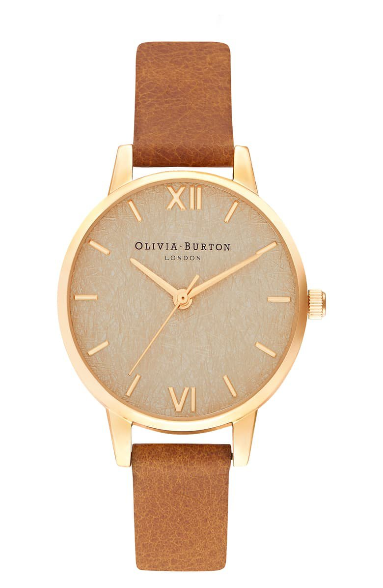 Olivia Burton Woven Dial Leather Strap Watch, 30mm | Nordstrom