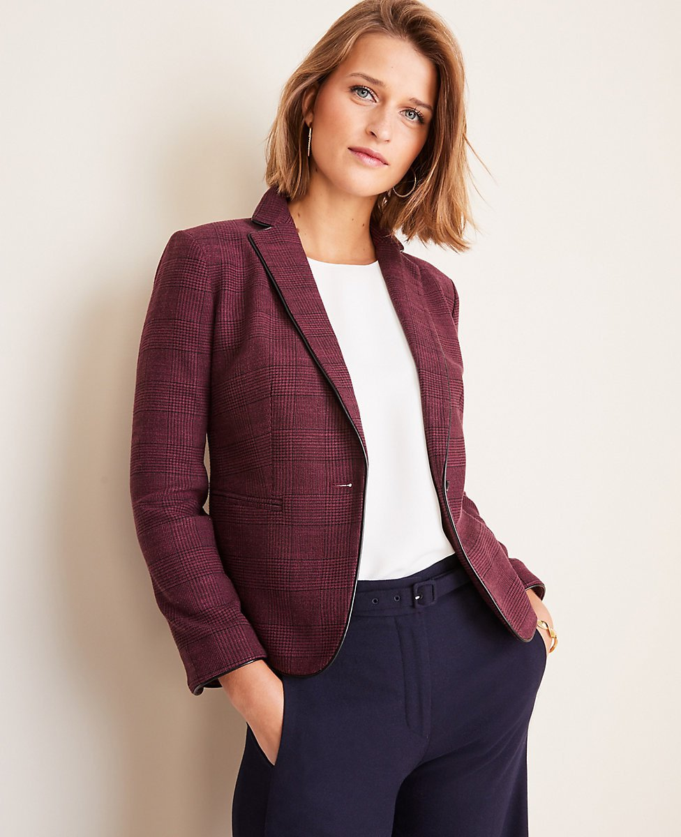 The Newbury Blazer in Glen Plaid | Ann Taylor