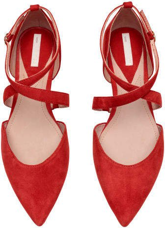 Flats with Strap - Red
