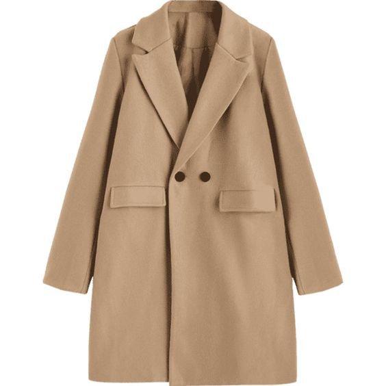 Longline Flap Pockets Wool Blend Coat