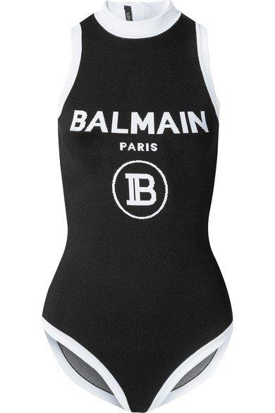 Balmain   Intarsia stretch-knit bodysuit   NET-A-PORTER.COM