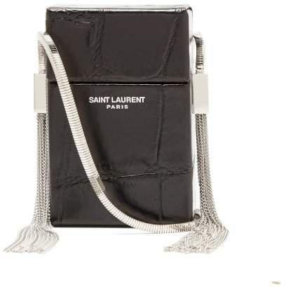 Smoking Minaudiere Leather Cross Body Bag - Womens - Black