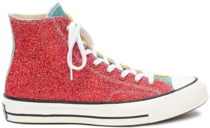 Converse X glitter colourblock hi-top sneakers