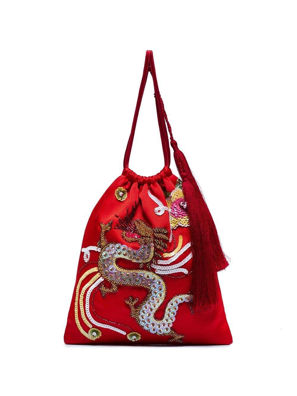 Red Dragon Motif Handbag