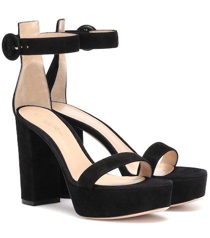 Suede plateau sandals