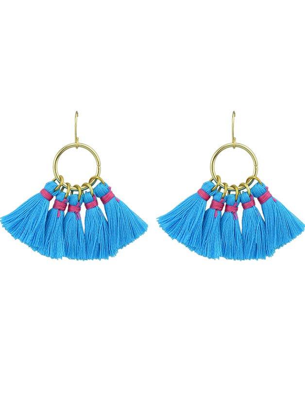 Blue Boho Style Party Earrings Colorful Tassel Drop Earrings