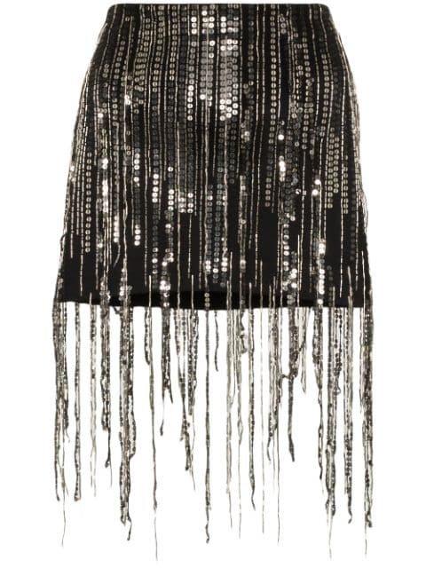 Faith Connexion Sequin Fringed Mini Skirt | Farfetch.com