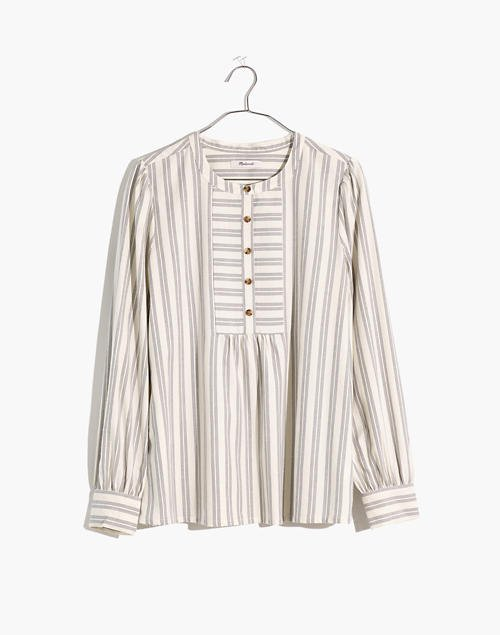 Leysfield Popover Shirt in Stripe white