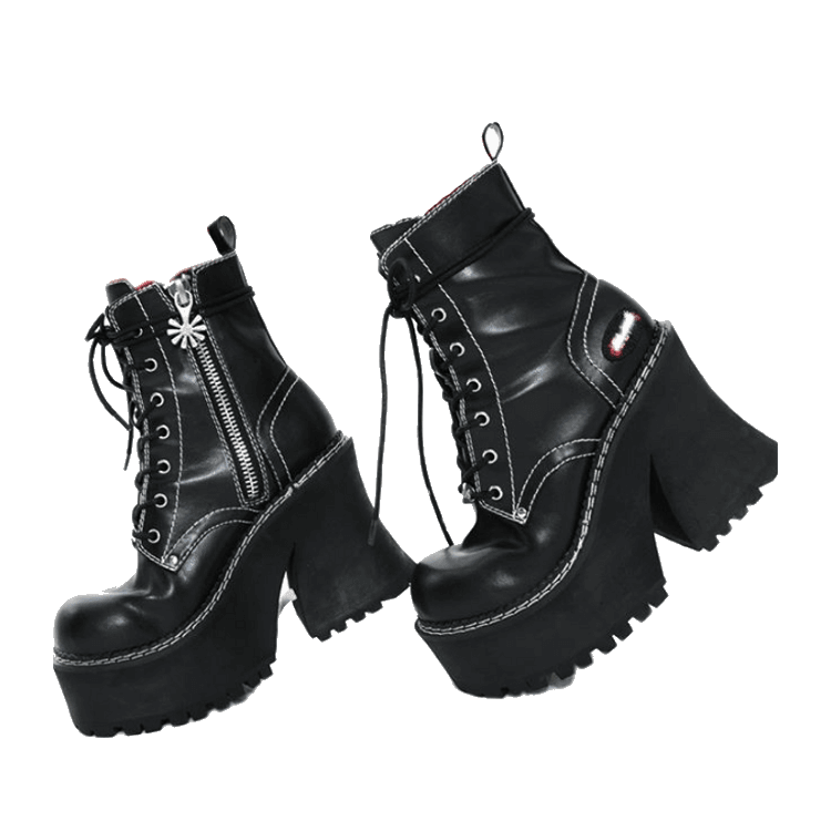 png shoes aesthetic black high heeled boots
