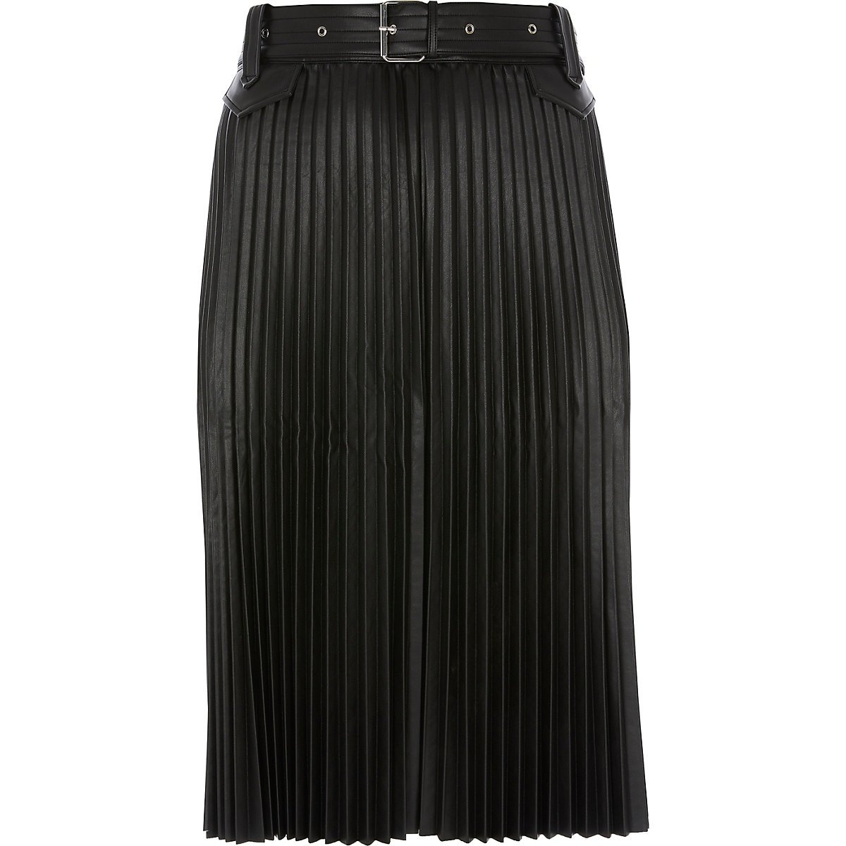 Plus black faux leather pleated midi skirt - Midi Skirts - Skirts - women