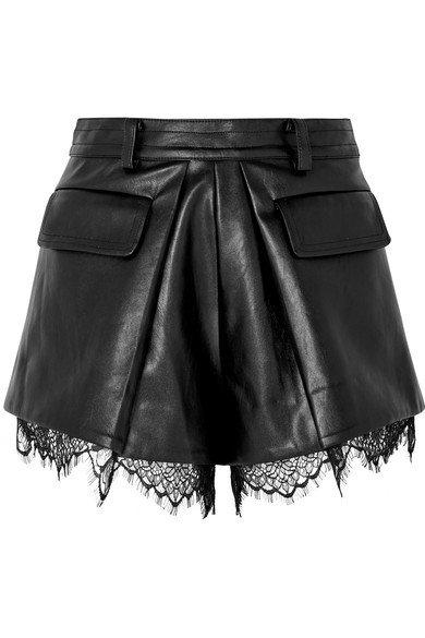 Self-Portrait | Lace-trimmed faux leather shorts | NET-A-PORTER.COM