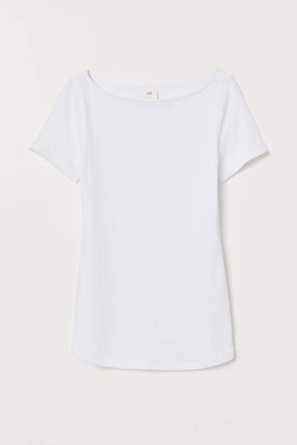 Boat-neck T-shirt - White