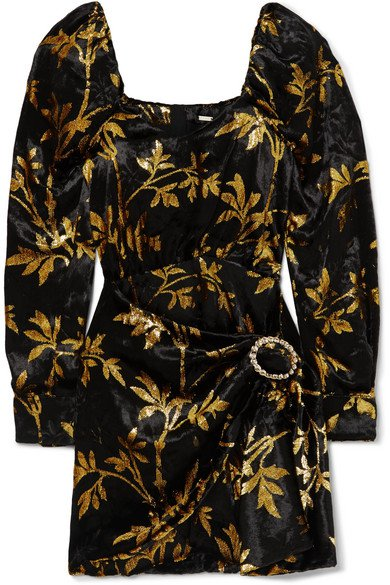 Dodo Bar Or | Mona draped metallic velvet-jacquard mini dress | NET-A-PORTER.COM
