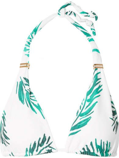 Aloe Bia Printed Triangle Bikini Top - Green