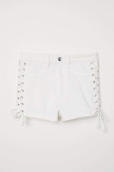 Shorts with Lacing - White