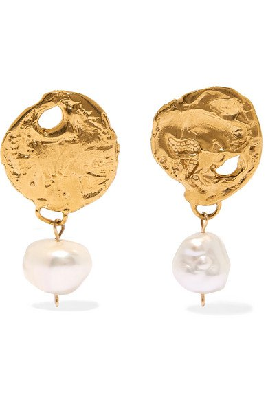 Alighieri | Beacon gold-plated pearl earrings | NET-A-PORTER.COM