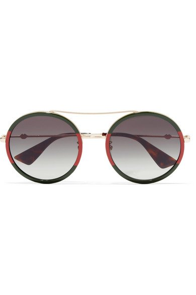 Gucci | Round-frame striped acetate and gold-tone sunglasses | NET-A-PORTER.COM