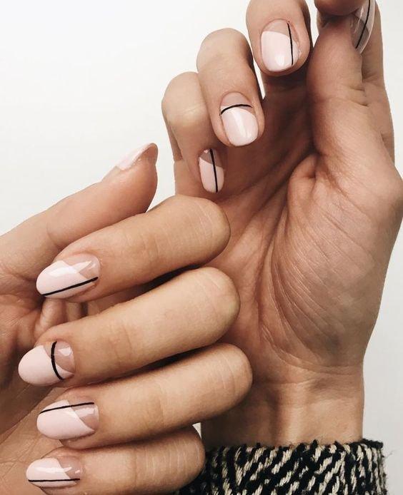Geometric Pink Nail Art