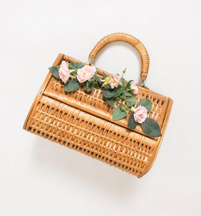 Vintage Basket Purse 1950s Brown Wood Wicker Bag Floral   Etsy