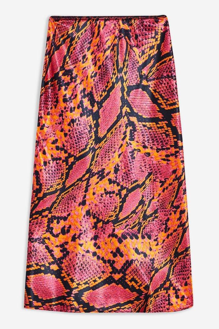 Snake Satin Bias Midi Skirt | Topshop pink