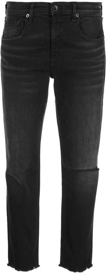 frayed-hem jeans