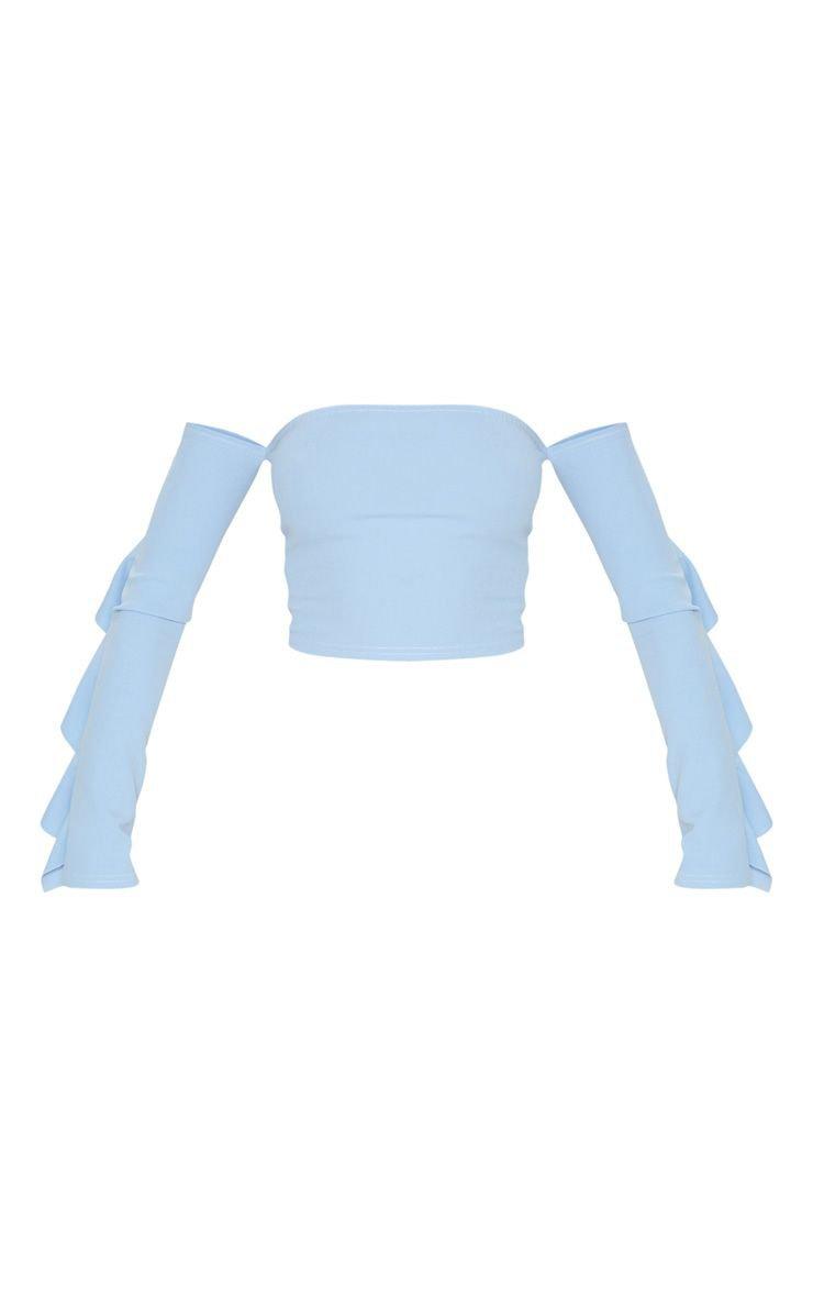 Dusky Blue Crepe Bardot Frill Sleeve Crop Top | PrettyLittleThing