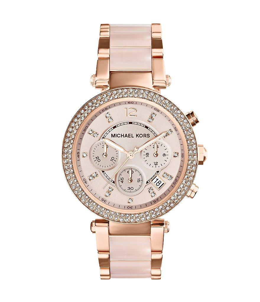 Michael Kors Parker Rose Gold Tone & Blush Chronograph Watch | Dillards