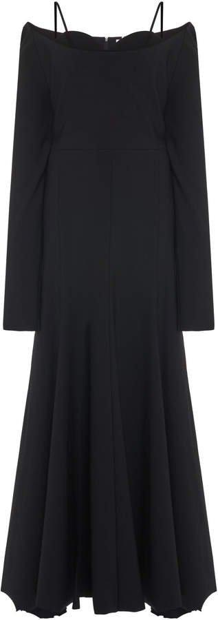 Asymmetrical Off-The-Shoulder Virgin Wool Bra Dress