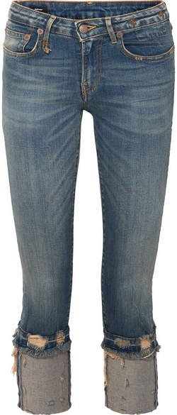 Kate Cropped Distressed Low-rise Skinny Jeans - Mid denim