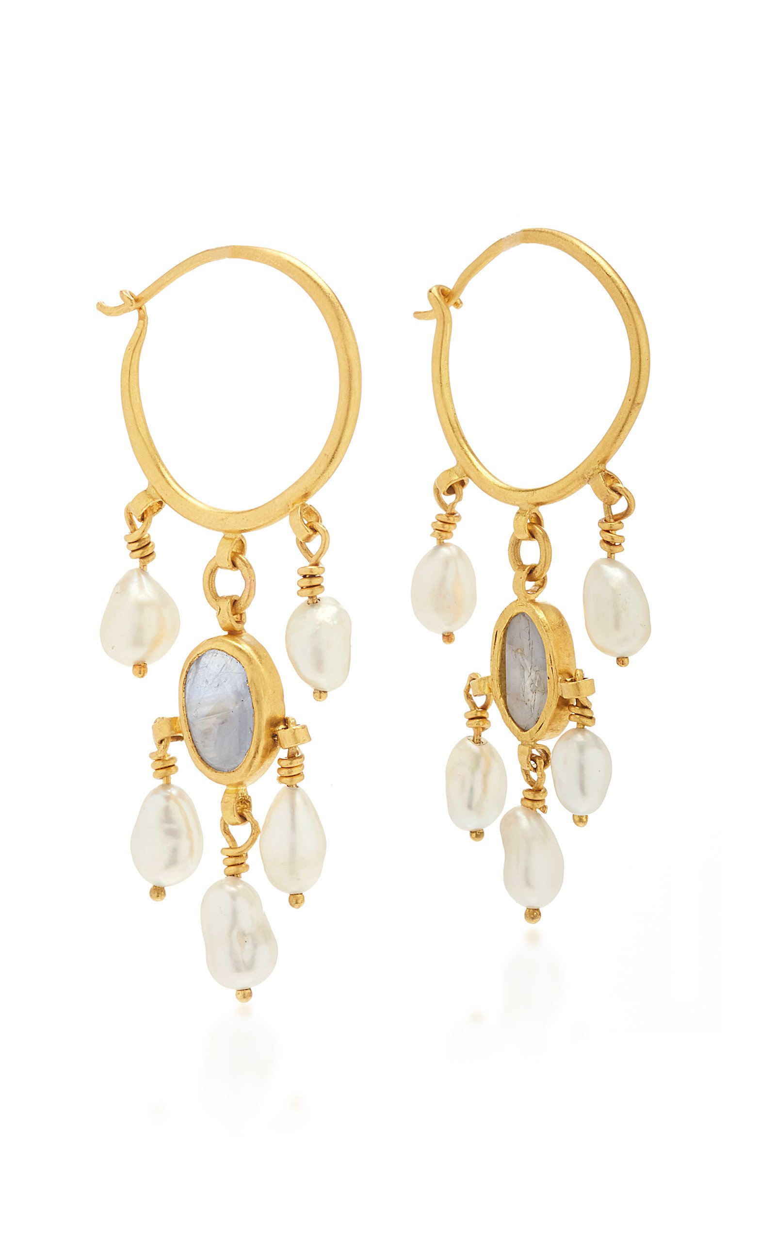 Prounis Keshi Pearls and Star Sapphire Hoop-and-hook earring