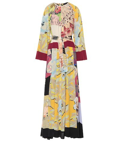 Printed silk crêpe maxi dress