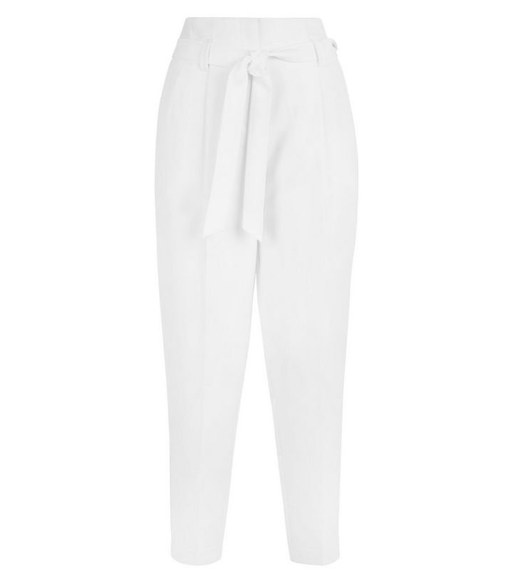 White High Waist Tapered Trousers | New Look