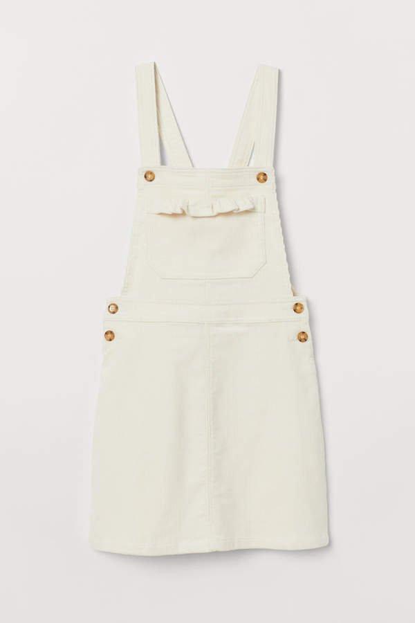Corduroy Bib Overall Dress - White