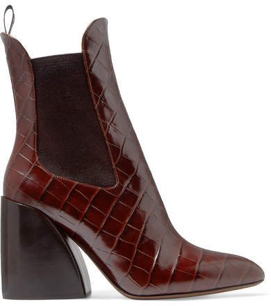 Wave Croc-effect Leather Ankle Boots - Dark brown