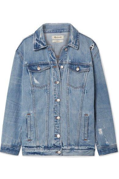 Madewell | Oversized distressed denim jacket | NET-A-PORTER.COM