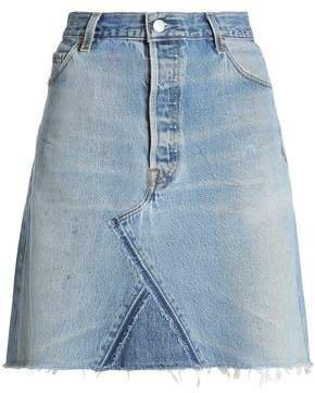 Re/Done By Re/done By Frayed Denim Mini Skirt