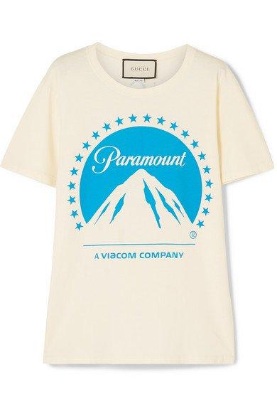 Gucci   Printed cotton-jersey T-shirt   NET-A-PORTER.COM