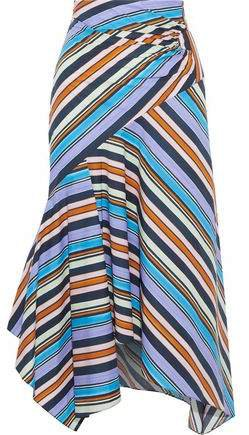 Pleated Striped Cotton-poplin Midi Skirt