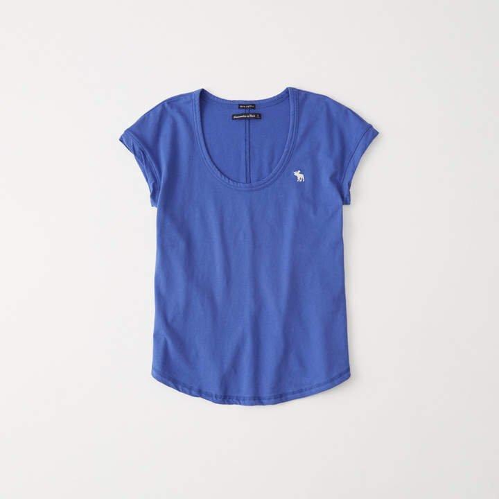 A&F Women's Scoopneck Icon Tee in Blue - Size XXS