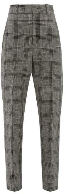 Sonnel Checked Cotton Blend Trousers - Womens - Dark Grey