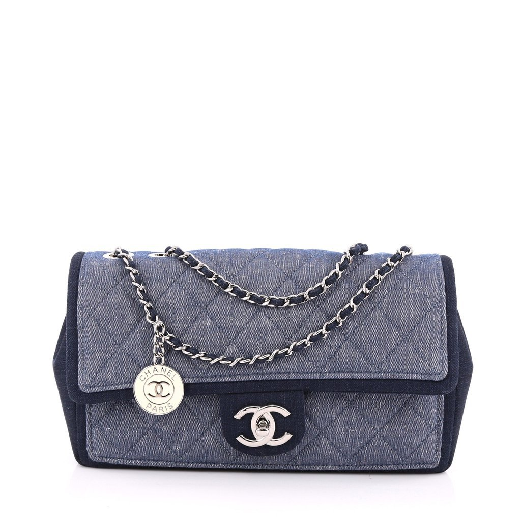 Chanel Medallion Flap Bag Quilted Denim