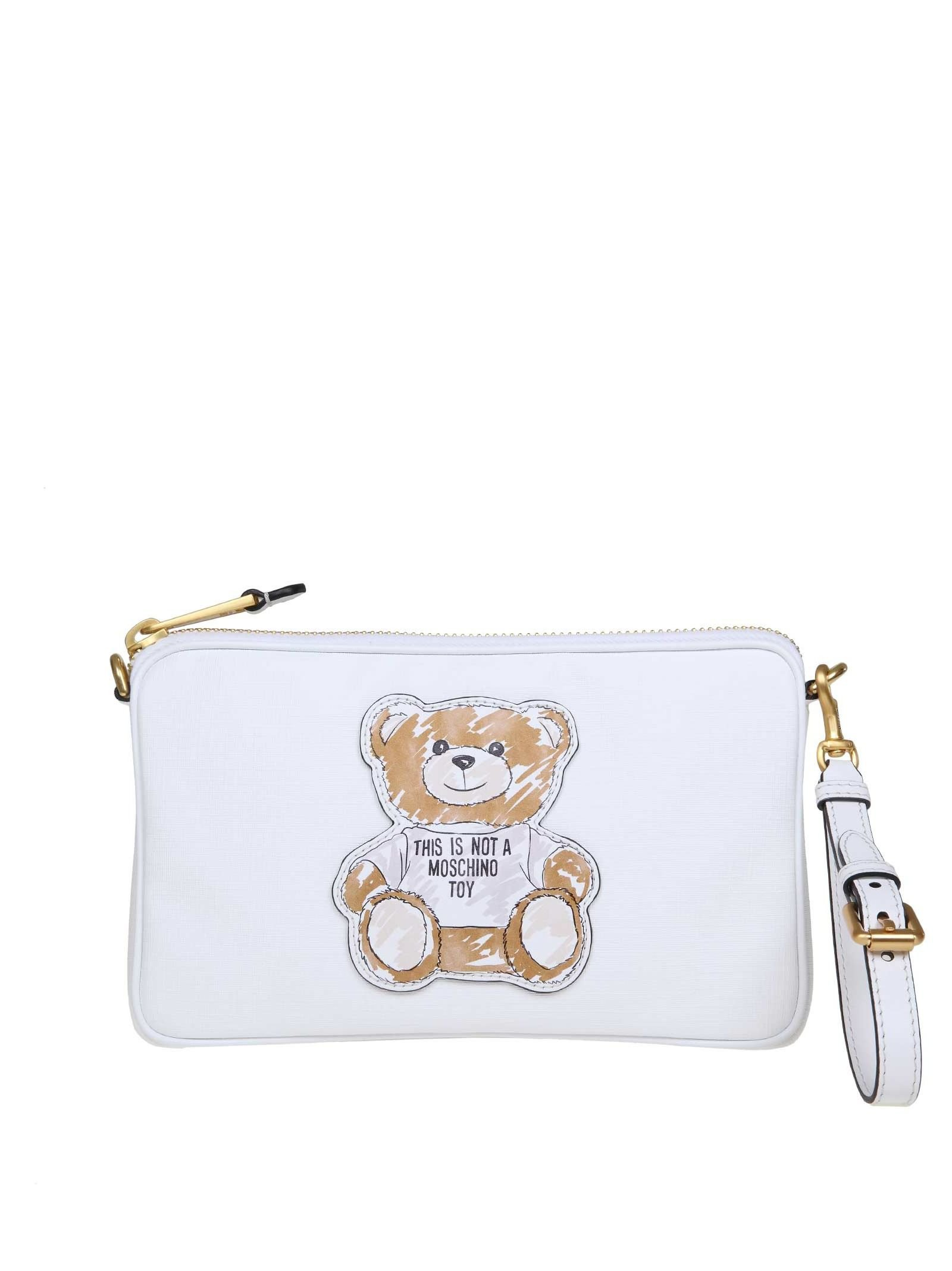 Moschino Teddy Shoulder Bag In White Color Leather