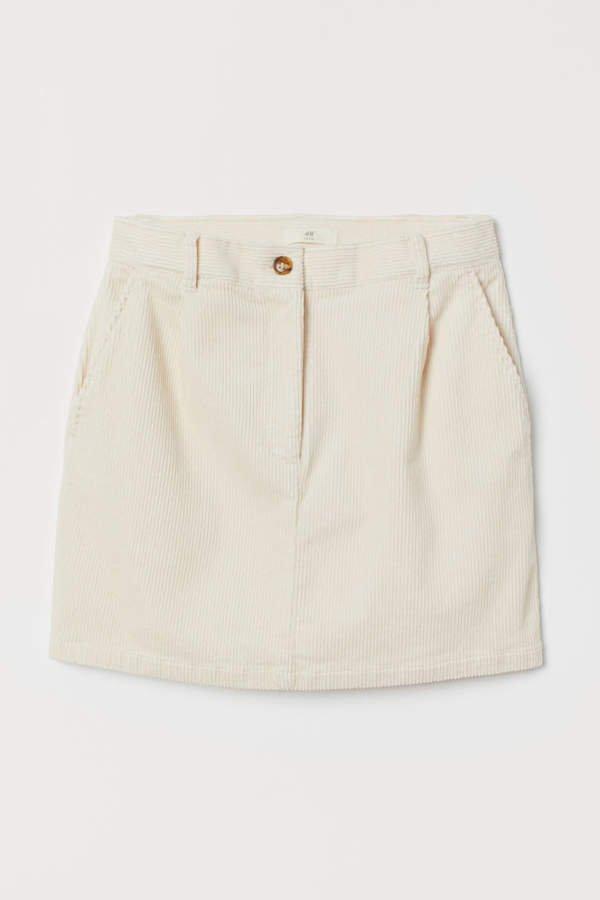 Short Corduroy Skirt - White